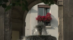 Fountaine des Innocents and Red Flowers Stock Footage