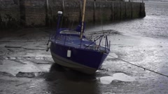 Boat moored in Irish Harbour - stock footage