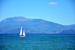 Garda lake yacht - stock photo