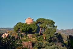 Portofino Italy Castle Brown - stock photo