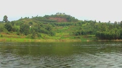 Lake Bunyonyi in Uganda, Africa, footage recorded from a moving boat Stock Footage