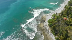 Stock Video Footage of Aerial view of Costa Rica sandy beach