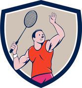 Badminton Player Racquet Striking Crest Cartoon - stock illustration
