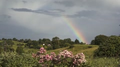Rainbow over the countryside of Ireland Stock Footage