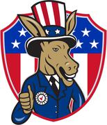 Democrat Donkey Mascot Thumbs Up Flag Cartoon Stock Illustration