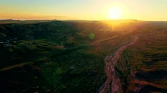 Painted desert valley sunset Stock Footage