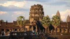 Tourists visit Main Temple Angkor Wat Temple Cambodia Stock Footage