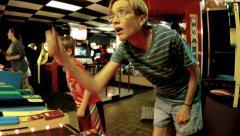Arcade games people memorable inspiring experience pleasure Stock Footage