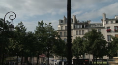 Pan from French Buildings to Fountaine des Innocents Stock Footage