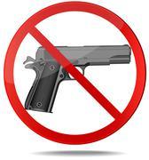 No guns vector sign - stock illustration
