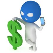 3d thief with green dollar and smartphone Stock Illustration