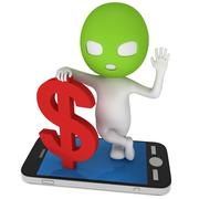 3d thief with red dollar and smartphone - stock illustration