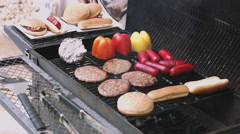 Barbecue grilled on barbecue grill Stock Footage