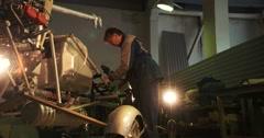 Microlight Ultralight trike parked in hangar Stock Footage
