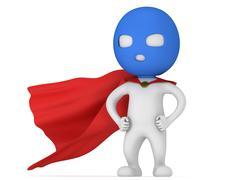 3d man brave superhero with red cloak Stock Illustration