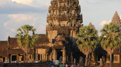 Angkor Wat Temple Zoom Out Tourists at Main Temple -  Cambodia Stock Footage