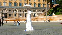 Human statue in the Piazza del Popolo Stock Footage