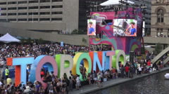PANAMANIA Celebration at Nathan Phillips Square in the evening - stock footage