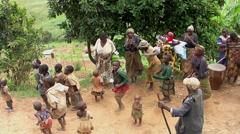 Batwa pygmies dancing at Lake Bunyonyi, Uganda Stock Footage