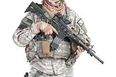 paratrooper airborne infantry - stock photo