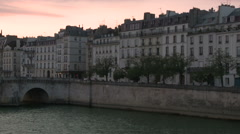 Pan to Notre Dame from Ile Saint-Louis 3 - stock footage