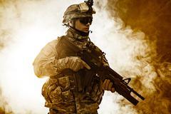 airborne infantry - stock photo