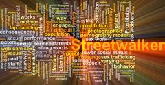 Streetwalker background concept glowing Stock Illustration