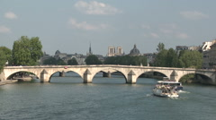 Boats Passing in the River Seine Stock Footage