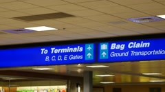 A bag claim sign at the airport Stock Footage