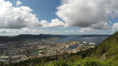 Skyline of Bergen, Norway from Mount  Floyen, time lapse, clouds Stock Footage