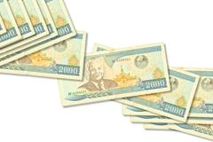 Banknotes Laos isolated on white Stock Photos