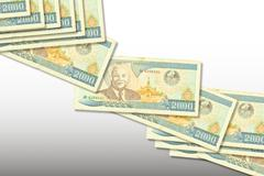 Banknotes Laos isolated on white - stock photo