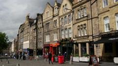 Grassmarket in Edinburgh Scotland Stock Footage