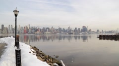 Winter Weather Manhattan and Hudson River New York Stock Video - stock footage