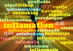 Inflamation multilanguage wordcloud background concept glowing - stock illustration