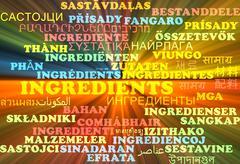 Ingredients multilanguage wordcloud background concept glowing - stock illustration
