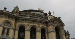Cornice of Kyiv Opera Theatre Building in Kiev City Center National Opera of - stock footage