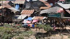 Shacks in the Cambodian Country Side / Farm Lands - stock footage