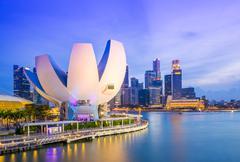 Stock Photo of Singapore skyline at night
