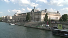 Riverside of Musee d'Orsay Stock Footage