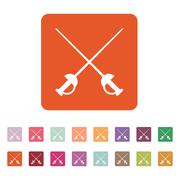 The sword icon. Epee symbol. Flat Stock Illustration