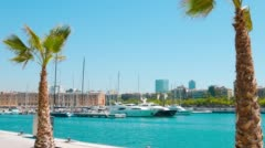 Barcelona cityscape view from Port Vell Stock Footage