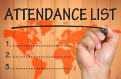 Hand writing attendance List Stock Photos