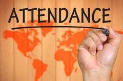 Hand writing attendance Stock Photos