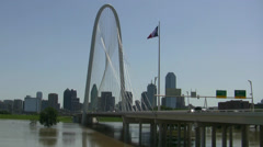 Margaret Hunt Bridge And Flooded Trinity River Dallas Stock Footage