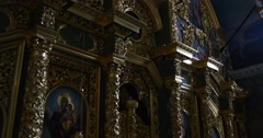 Iconostasis - - The Views Inside The Great Church of The Assumption of the Stock Footage