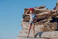 Stylish beautiful little girl Stock Photos