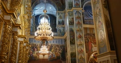 Frescoes and iconostasis - The Views Inside The Great Church of The Assumption Stock Footage
