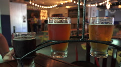 Flight Of Craft Beer At Hipster Bar Stock Footage