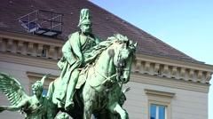 Kaiser Wilhelm Monument in Dusseldorf, Stock Footage